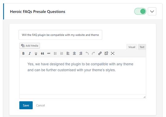 Heroic FAQs - Visual Editor