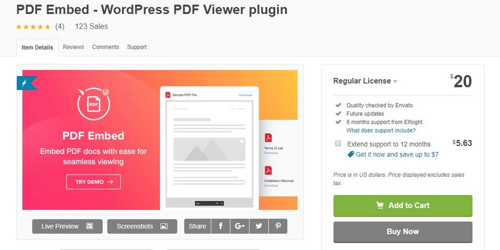 PDF embed plugin