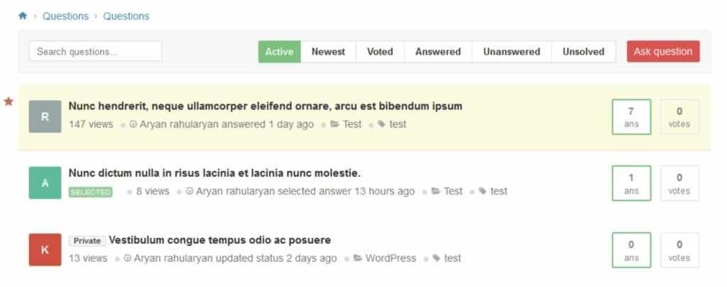AnsPress QA plugin