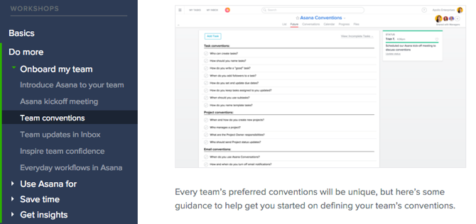 Asana's navigation structure gets you exactly where you want to be going.