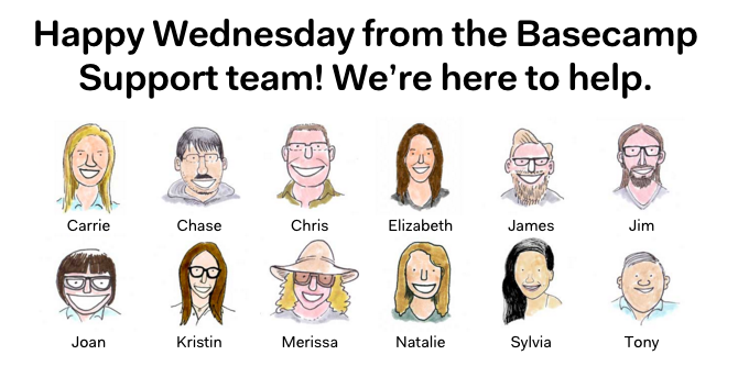 The friendly Basecamp support team.