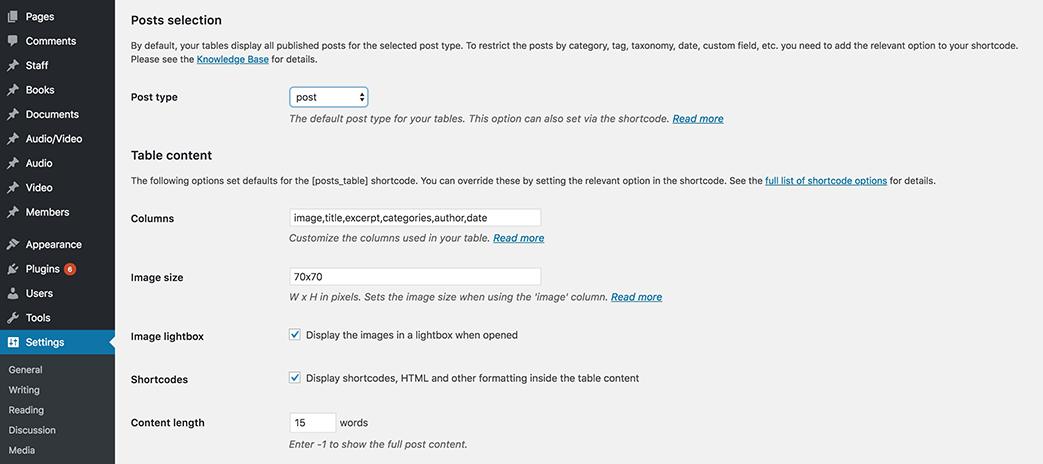 Posts Table Pro default settings