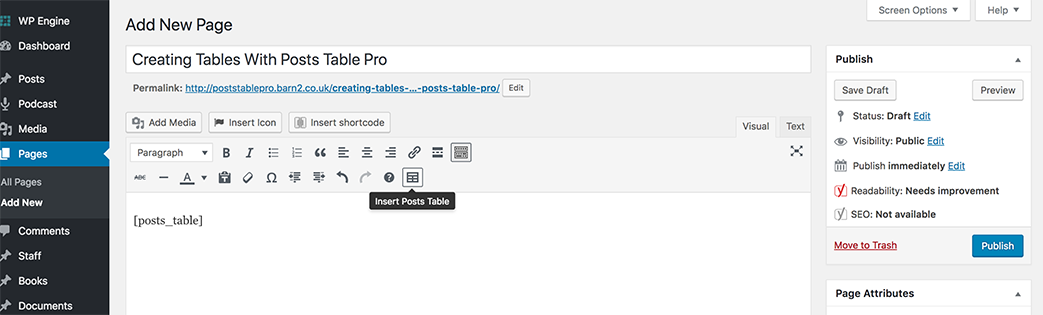 Insert Posts Table Pro shortcode