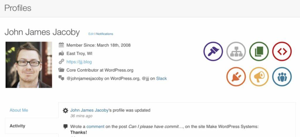BuddyPress plugin user profile
