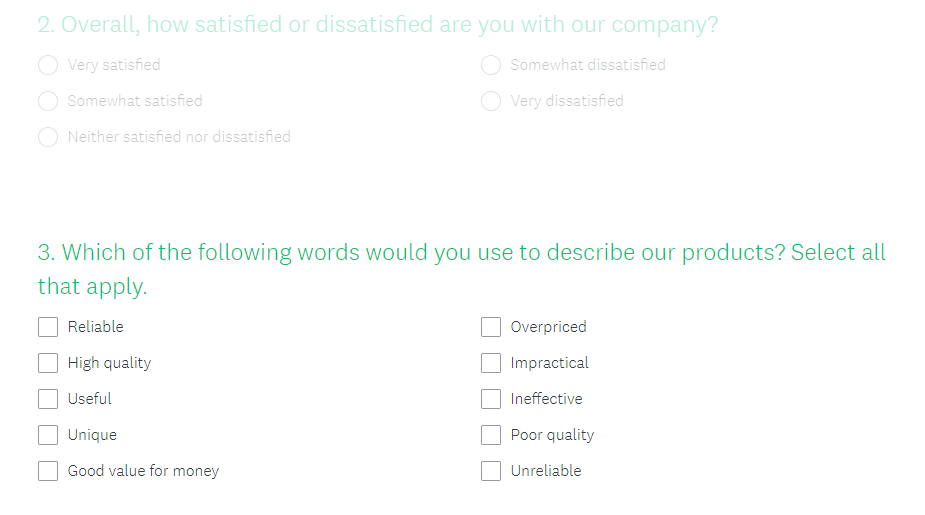 an example of customer feedback surveys from Survey Monkey