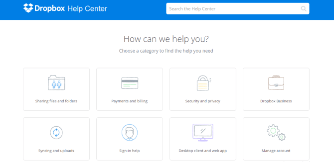 The Dropbox Help Center covers just about any question a user may have and works like a central information hub.