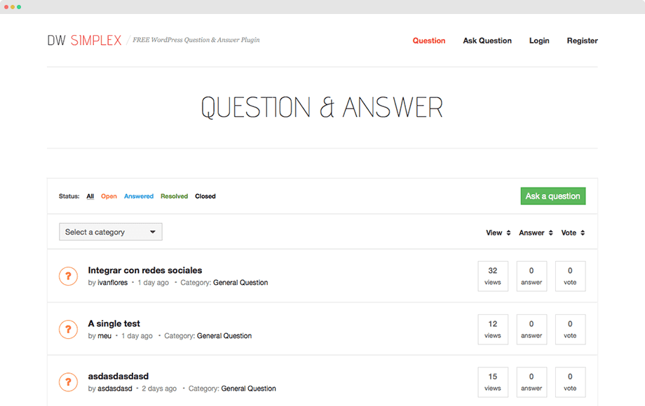 DW question and answer plugin