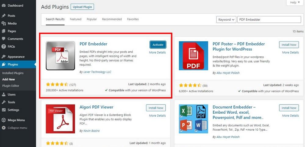 embed pdf in using plugin - 1