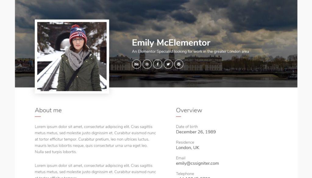 Emily Elementor resume template