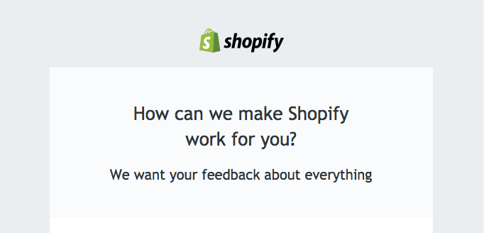 An example of how Shopify decides to ask customers for feedback