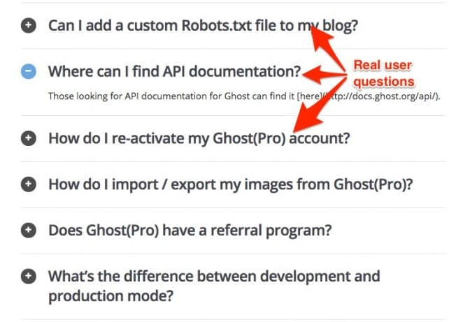 Ghost's FAQ has real questions