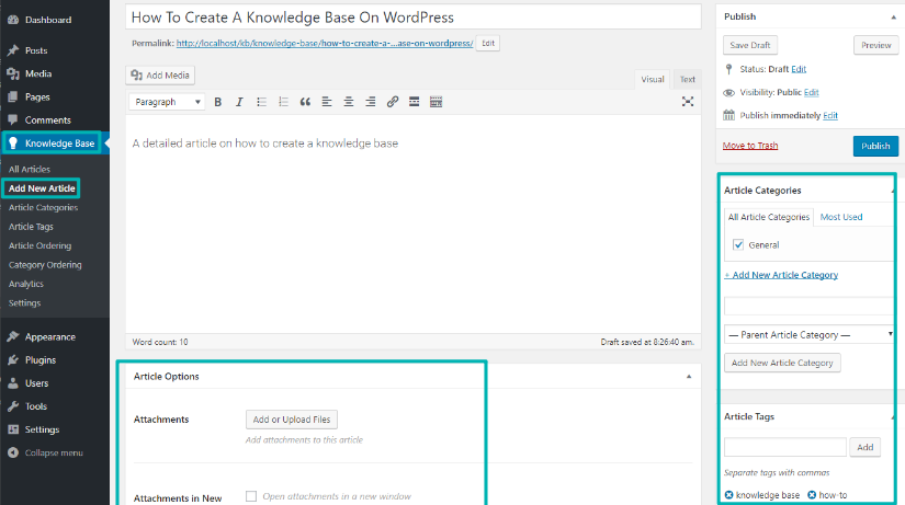 how to create a knowledge base article on WordPress
