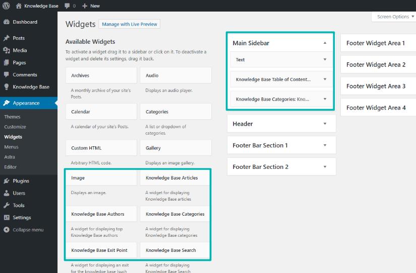 Using the knowledge base plugin widgets