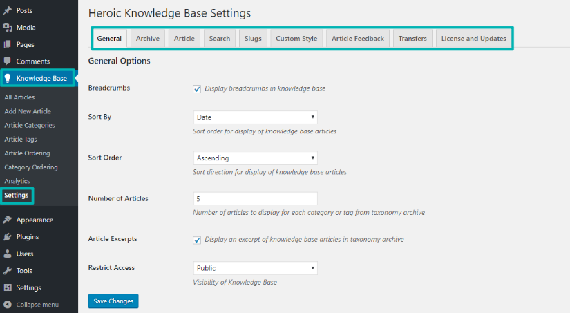 Changing Heroic Knowledge Base settings