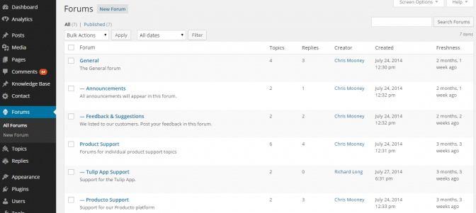 The configuration of the forums on the demo site