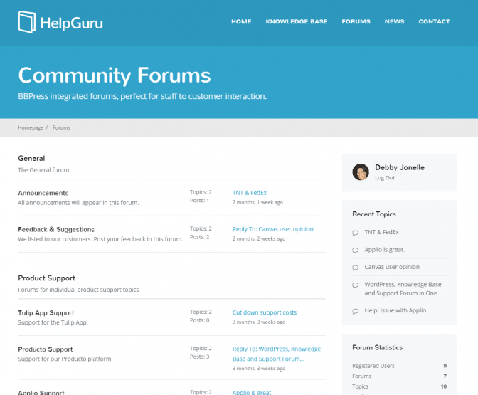 The appearance of the forums on the demo site