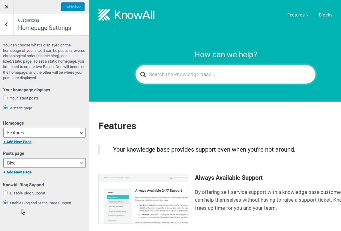 KnowAll home page configuration.