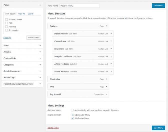 KnowAll custom menu configuration