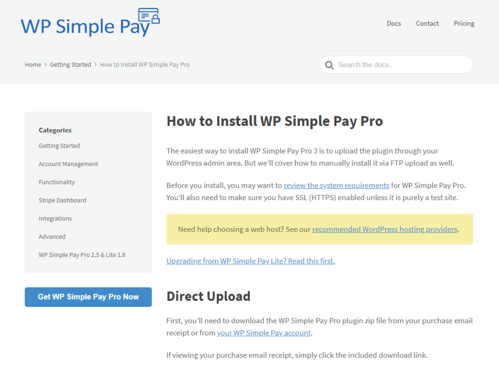 WP Simple Pay knowledge base article