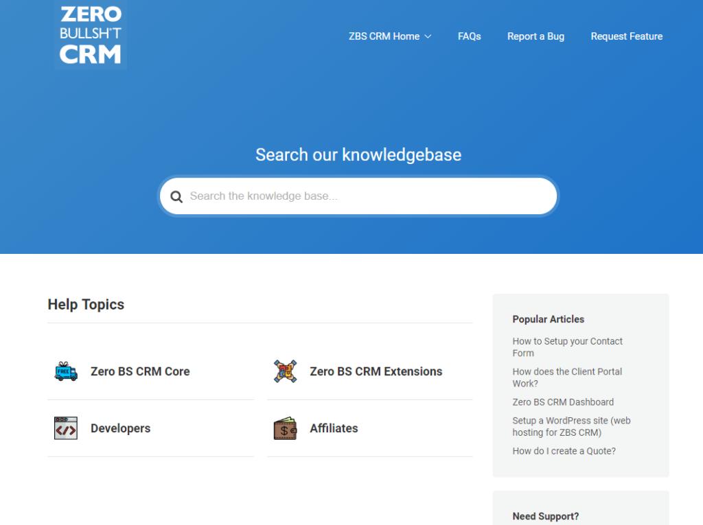 Zero BS CRM knowledge base