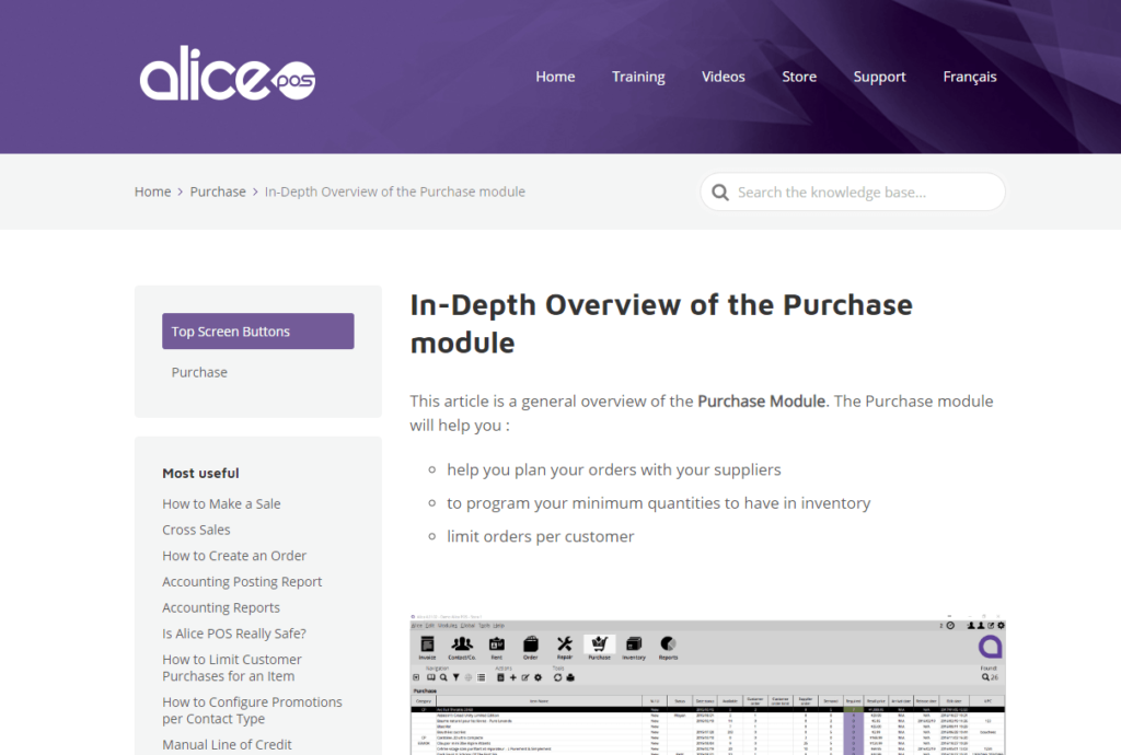 Alice POS knowledge base article