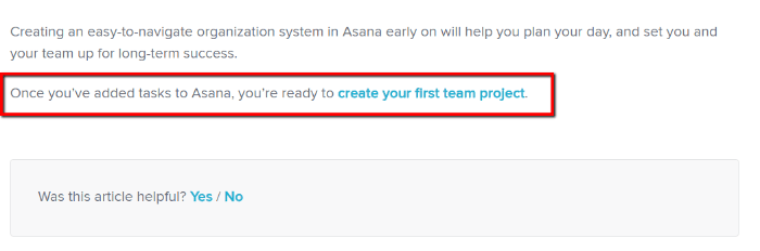 Knowledge Base Article Template - Asana Example