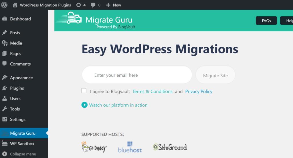 Migrate Guru enter email