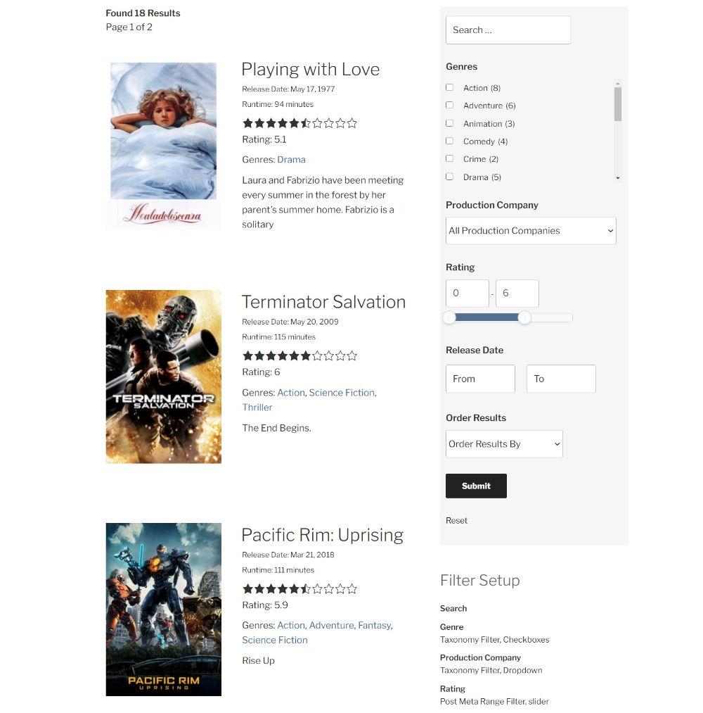 Search & Filter WordPress plugin example