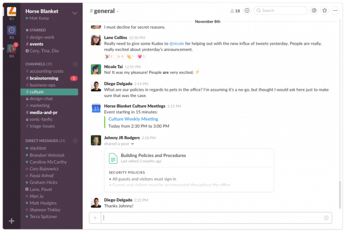 Slack dashboard (via slack)