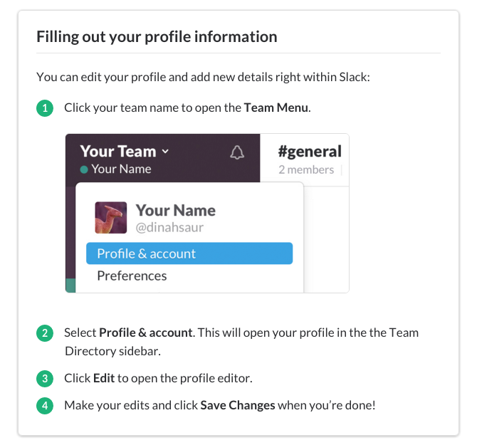 An example of Slack's simple but effective use of step-by-step guides.