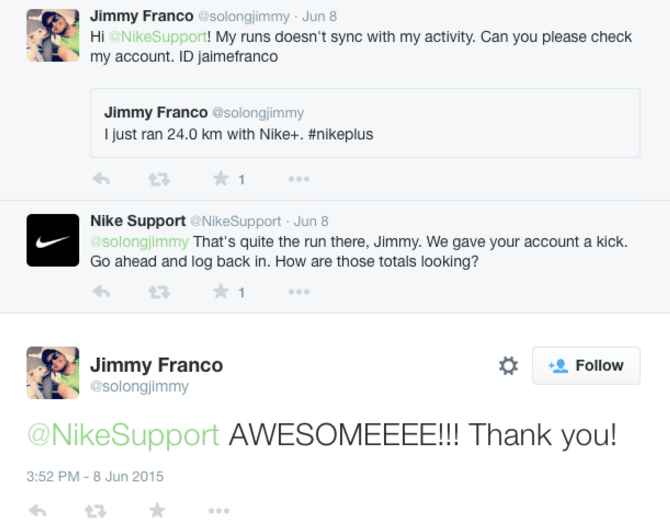 Twitter's case studies show companies such as Nike delighting customers.