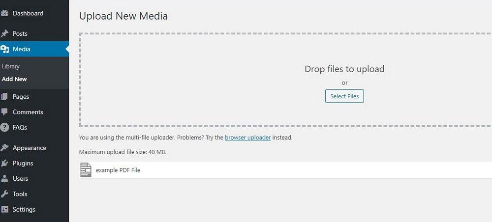 upload pdf in wordpress