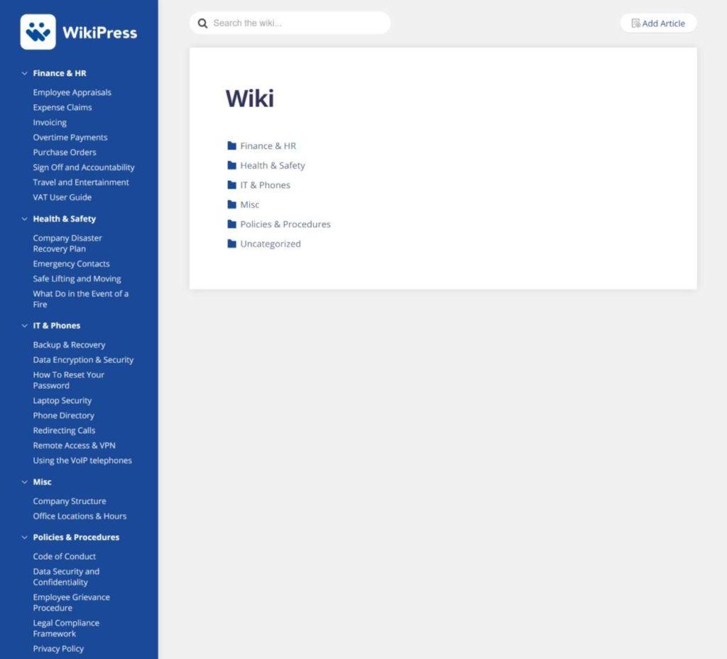 WikiPress homepage