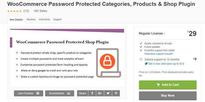woocommerce password protect