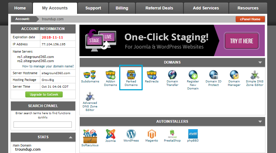 cPanel parked domains option