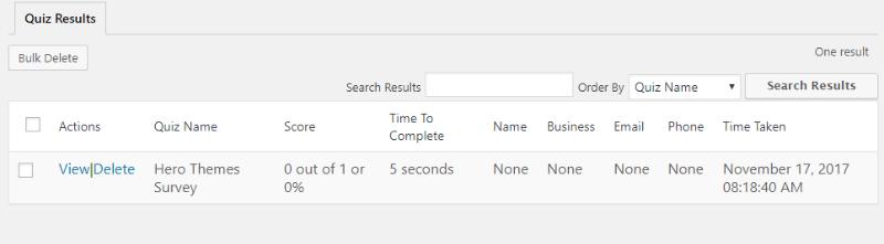 survey results interface